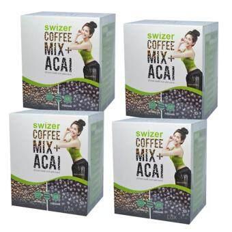 SWIZER COFFEE MIX ACAI BERRYกาแฟเพื่อสุขภาพ สไวเซอร์ คอฟฟี่ มิกซ์ พลัส อาซาอิ เบอร์รี่ จากป่าอเมซอนในบราซิล บรรจุ 10 ซอง (4 กล่อง)
