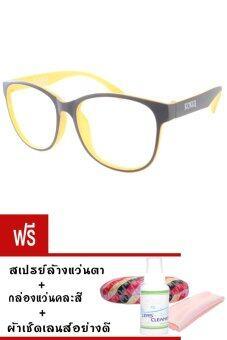Kuker กรอบแว่นสายตาสั้น New Eyewear+เลนส์สายตาสั้น ( -400 ) กันแสงคอมและมือถือ รุ่น 88237(สีดำ/ส้ม) แถมฟรี สเปรย์ล้างแว่นตา+กล่องแว่นคละสี+ผ้าเช็ดแว่น