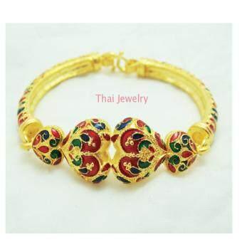 Thai Jewelry สร้อย กำไลข้อมือ ทองลงยา สุโขทัย งานทองชุบไมครอน ชุบเศษทองคำแท้ 96.5% น้ำหนัก 2 บาท ขนาด 6.5 นิ้ว