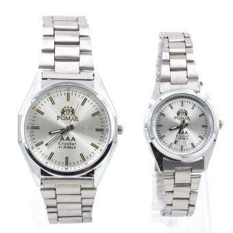 นำเสนอ POMAR นาฬิกาข้อมือคู่รัก 9186-8122 (Silver/ White) พิเศษแถมซองนาฬิกาสุดหรู สินค้ายอดนิยม