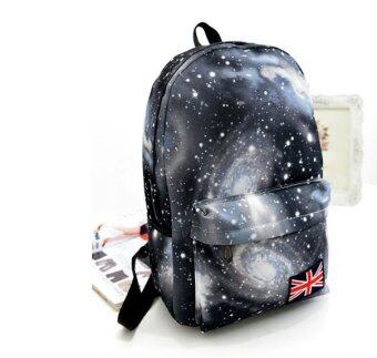 Harga Fashion Women Girl Canvas Bag Galaxy Print Cosmic Space Backpacks Schoolbag Travelling Backpack Grey