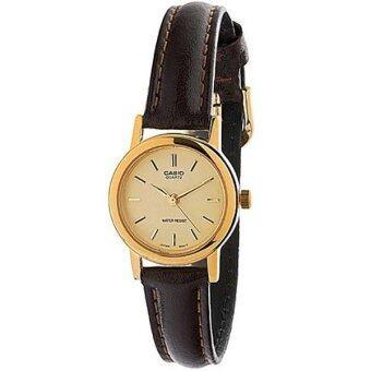Casio Standard นาฬิกาข้อมือผู้หญิง - สีทอง สายหนังสีน้ำตาล รุ่น LTP-1095Q-9A
