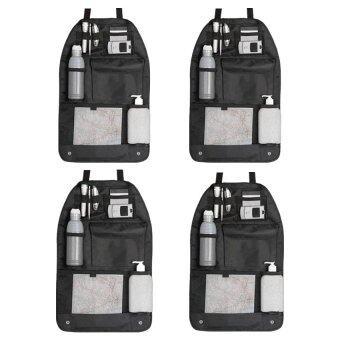 กระเป๋าใส่ของหลังเบาะรถยนต์ ที่เก็บของหลังเบาะรถยนต์ (ดำ) 4pcs