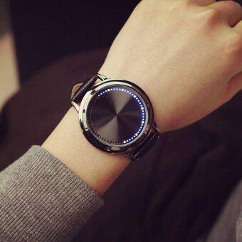 นาฬิกาดิจิตอล Led สำหรับบุรุษหน้าจอสัมผัสสายหนังนาฬิกาข้อมือกีฬาสองสีดำ