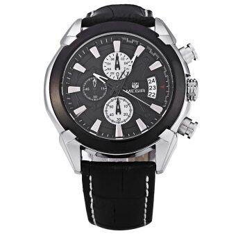 MEGIR M2020 นาฬิกาควอทซ์ทำผู้ชายสามใต้หน้าปัดนาฬิกาข้อมือกีฬา (สีดำ)