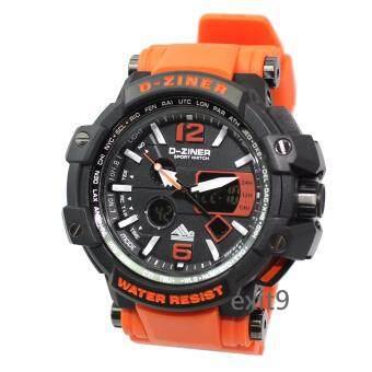 D-ZINER นาฬิกาข้อมือผู้ชาย สายซิลิโคน รุ่นDZ-8090 สายส้ม(ดำ)