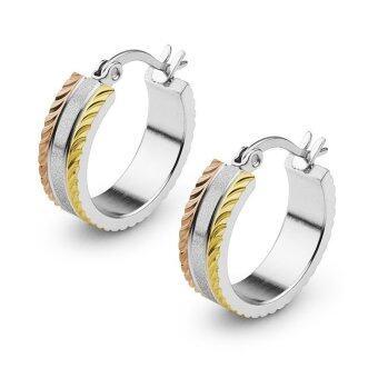 555jewelry ต่างหู สแตนเลสสตีล - ต่างหูห่วง (สี - สตีล-ทอง-พิ้งโกลด์) รุ่น MNC-ER503-MT1