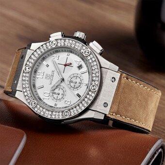 MEGIR นาฬิกาบุรุษ นาฬิกาเพชรคริสตัลนาฬิกาโครโนกราฟชายควอตซ์-นาฬิกา Relógio Masculino