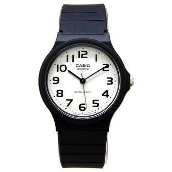 CASIO นาฬิิกาข้อมือ สายยางเรซื่น ใส่ได้ ชาย และ หญิง 3 เข็ม MQ-24-7B2LDF