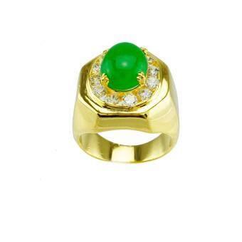 Tfine แหวนหยกหลังเต่าชายไซส์ 8 ชุบทอง
