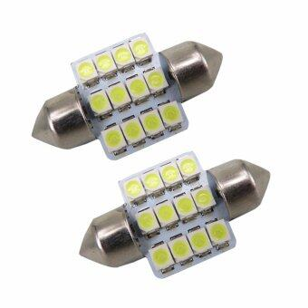 LED หลอดไฟ SMD 12 ดวง ไฟห้องโดยสาร ไฟอ่านหนังสือ 2 ชิ้น (สีขาว)