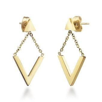 555jewelry ต่างหู สแตนเลสสตีล - ต่างหูก้านเสียบแบบห้อยดีไซน์สวย (สี - ทอง) รุ่น MNC-ER515-B