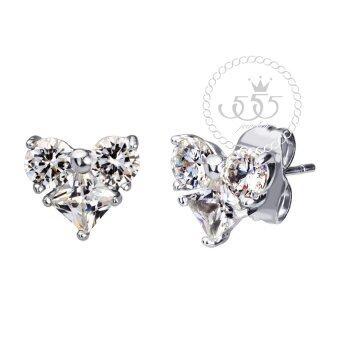 555jewelry เครื่องประดับ ต่างหูสตั๊ดประดับ CZ รูปหัวใจน่ารักๆดีไซน์เรียบหรู รุ่น MNC-BER618-A (สีเงิน)