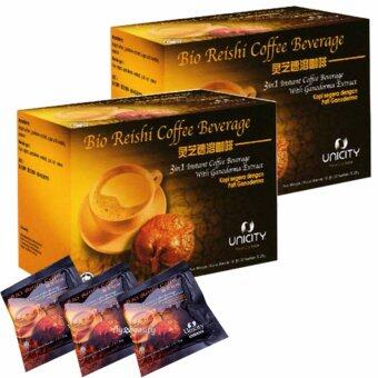 Unicity Bio Reishi Coffee Beverage ยูนิซิตี้ ไบโอรีชี่ กาแฟปรุงสำเร็จ ผสมเห็ดหลินจือ ควบคุมไขมันและความดัน บำรุงสุขภาพ ขนาด 20 ซอง (2 กล่อง)