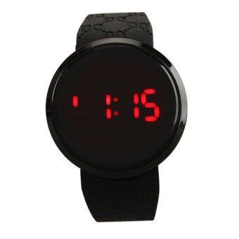 แฟชั่นผู้ชายหน้าจอสัมผัสกันน้ำซิลิโคน Led นาฬิกาข้อมือวันวันสีดำ