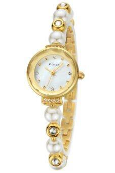Kimio นาฬิกาข้อมือผู้หญิง White/Golden สาย Pearl Rhinestones crystal รุ่น KW6026
