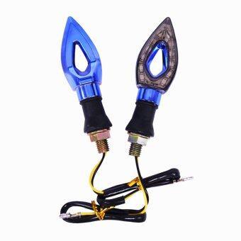 DTG ไฟเลี้ยวรถจักรยานยนต์ 12 V LED 12 ดวง-กรอบสีน้ำเงิน