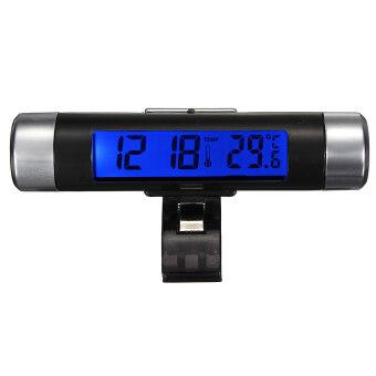 รถระบายอากาศแบบหนีบติดอยู่บนนาฬิกาอิเล็กทรอนิกส์+เครื่องวัดอุณหภูมิระบบดิจิตอลแสดงผลจอ Lcd สีน้ำเงิน