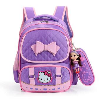 Hely TOP High-capacity Kids Girls Cartoon Schoolbag Waterproof Primary School Pupils Backpack with Pencil Bag (Purple) - Intl