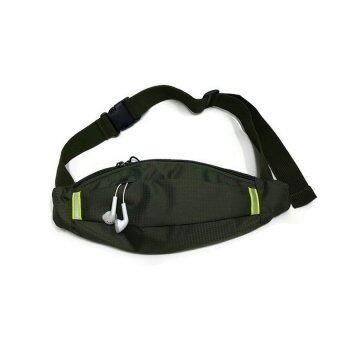 Lotte กระเป๋าแนบตัว กันน้ำ ผ้าลาย samsonite พร้อมช่องลอดหูฟัง สายชาร์จ (สีเขียวทหาร)