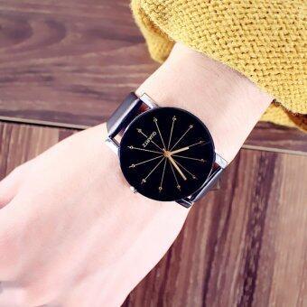 KPshop นาฬิกาผู้หญิงสายหนัง นาฬิกาข้อมือแฟชั่น นาฬิกาสวยๆของผู้หญิง รุ่น LC-008 (สีดำ)