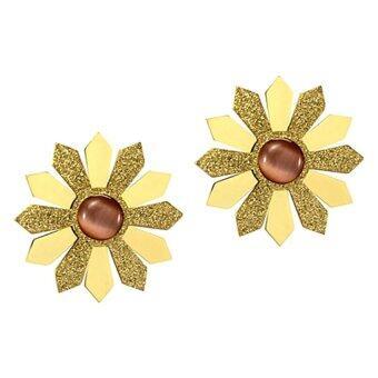 555jewelry ต่างหูแบบก้านเสียบ รูปทรงดอกไม้ รุ่น MNC-ER304-B - Yellow Gold