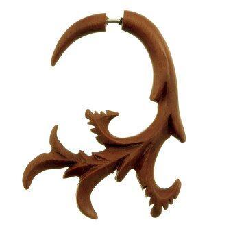 555jewelry ต่างหู fake expander จากไม้ ลายเถาไม้ สีไม้น้ำตาลแดง[สินค้าเป็นชิ้นเดียว] รุ่น WFX13