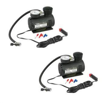 ปั้มลมไฟฟ้าสำหรับรถยนต์ ปั๊มลมติดรถยนต์ ปั๊มเติมลมยาง Air pump 300PSI 12V (สีดำ) แพ็ค 2 ชิ้น