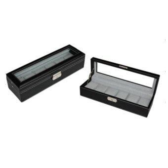 กล่องเก็บนาฬิกา กล่องไม้หุ้มหนังสีดำ กล่องนาฬิกา บานพับเหล็ก สำหรับนาฬิกา 6 เรือน