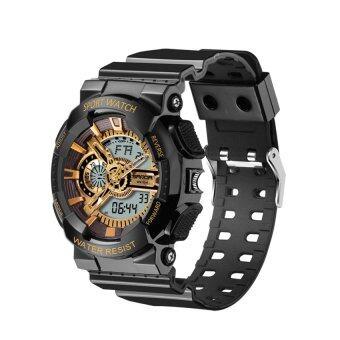 2559 ใหม่นาฬิกาแฟชั่นผู้ชายสไตล์นาฬิกากันน้ำ ก, กีฬานาฬิกาดิจิตอล S ตกใจทหารชาย (สีดำ และทอง)