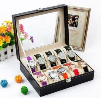 Cassablu กล่องนาฬิกา กล่องเก็บนาฬิกาข้อมือ กล่องใส่นาฬิกา 10 เรือน ฝากระจก กล่องใส่เครื่องประดับ