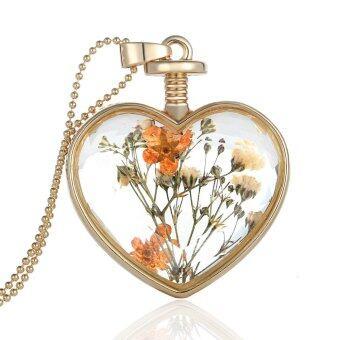 แฟชั่นใหม่เครื่องเพชรพลอยคริสตัลรูปหัวใจอันใสลอยล็อคเก็ตตัวอย่างดอกไม้แห้งพืชโกลเด้น/เงินจี้สร้อยคอโซ่สำหรับหญิงสาว