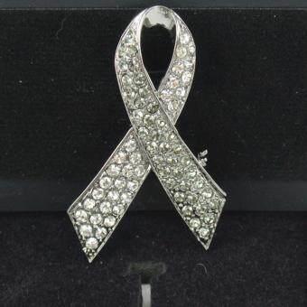 Pearl Jewelry เข็มโบว์เพชรเทา-ขาว สวารอฟสกี้ สีเมทาลิค S1 คุณภาพเลิศ