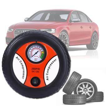 Elit ปั้มลมไฟฟ้าสำหรับรถยนต์ แบบพกพา รูปล้อรถ Air Pump 260PSI 12V (Black-Orange)