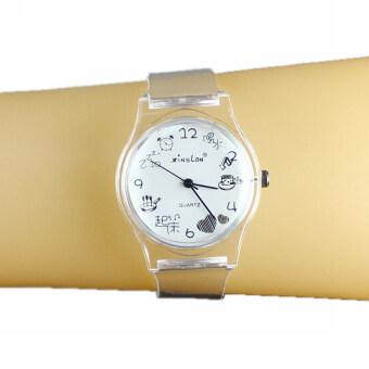 นาฬิกาข้อมือผู้หญิงเลดี้ผลึกคล้ายคลึงขาวสายพลาสติกใส Mordden