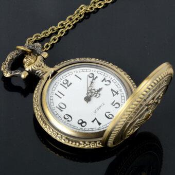 นาวิกโยธินสหรัฐ Easybuy ผู้ชายเรโทรบรอนซ์โบราณนาฬิกาควอทซ์กระเป๋าสีน้ำตาล