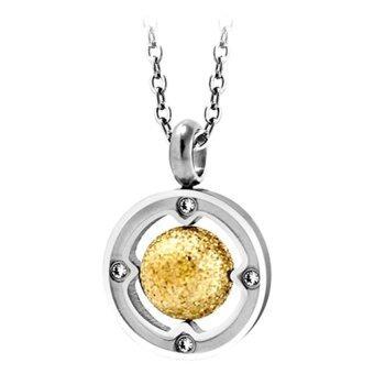 555jewelry จี้รูปวงกลม ขนาดเล็ก รุ่น MNC-P511-B - Yellow Gold