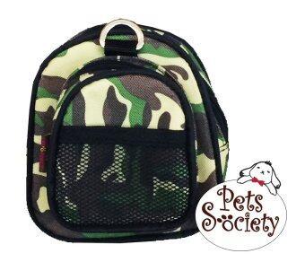 PetSociety เป้สุนัข, เป้แมว กระเป๋าเป้สำหรับสัตว์เลี้ยง (น้องหมา, น้องแมว) - ลายทหารเขียว