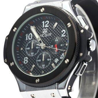 MEGIR 3002กรัมเพศผู้สายนาฬิกาควอทซ์ซิลิโคนเรืองแสงตัว (สีดำ)
