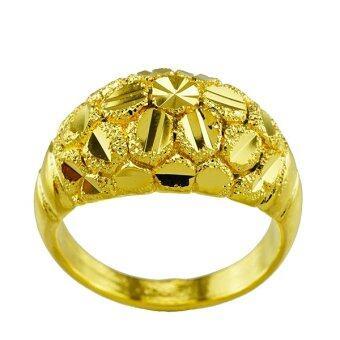 Tfine แหวนชายตัดลายบอลชุบทอง