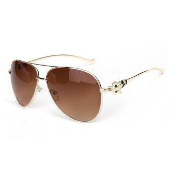 สร้างแบรนด์ดีไซเนอร์หญิงยุคโลหะแว่นตากันแดดสตรีวินเทจจิ้งจอก H1 600 ที่ 03 (สีน้ำตาล)
