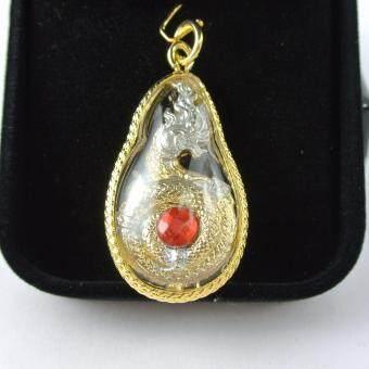 Pearl Jewelry จี้พญานาค 2 กษัตริย์ เงิน-ทอง เพชรสีแดง