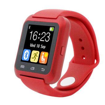 นาฬิกาข้อมือเครื่องวัดระยะทางเดินแข็งแรงฉลาดบลูทูธสำหรับ iPhone LG Samsung สีแดง