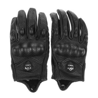 กีฬากลางแจ้งอย่างพวกรถจักรยานยนต์ถุงมือถุงมือหนังสั้นนิ้วที่มีรูใหญ่ (สีดำ)