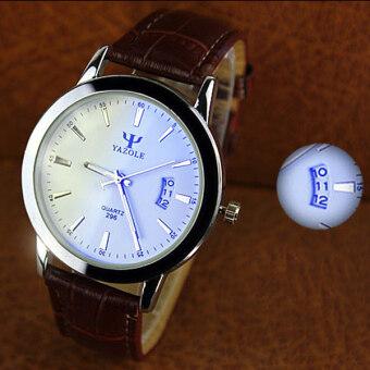 หญิงชายคู่กันน้ำปฏิทินหรูสีน้ำเงินสว่างนาฬิกาควอตซ์สีน้ำตาล-