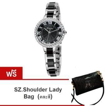 Kimio นาฬิกาข้อมือผู้หญิง สีดำ/ขาว สาย Alloy รุ่น KW506 ( แถมฟรี SZ. Shoulder Lady Bag คละสี 1ใบ มูลค่า 299-)