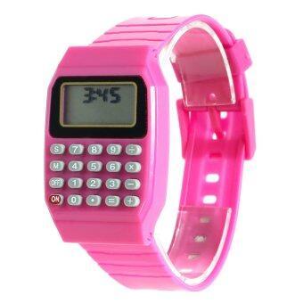 แฟชั่นเด็กซิลิโคนวันที่อเนกประสงค์เครื่องคิดเลขนาฬิกาข้อมือลูกสีชมพู
