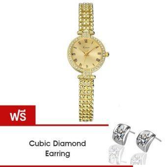 Kimio นาฬิกาข้อมือผู้หญิง สายสแตนเลส สีทอง รุ่น KW6015 แถมฟรีต่างหู Cubic Diamond