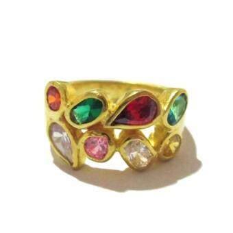TANITTgems แหวนพลอยนพเก้า ตัวเรือนทองเหลืองแท้