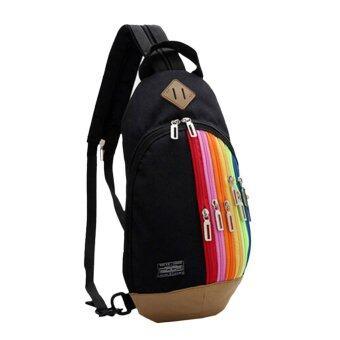 แฟชั่นกระเป๋าเป้กระเป๋าซิปโค้งแบบใช้หน้าอกสองถุงไนลอนสีดำ